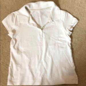 GIRLS - White Polo Shirt - Size L -10/12